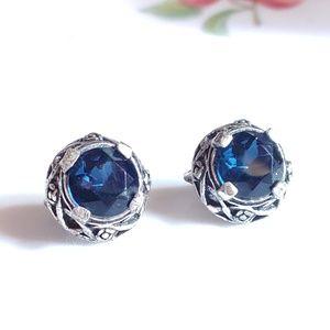 VTG SIGNED MIRACLE SAPPHIRE BLUE GLASS EARRINGS